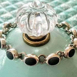 NWT, STERLING SILVER AND BLACK ONYX BRACELET